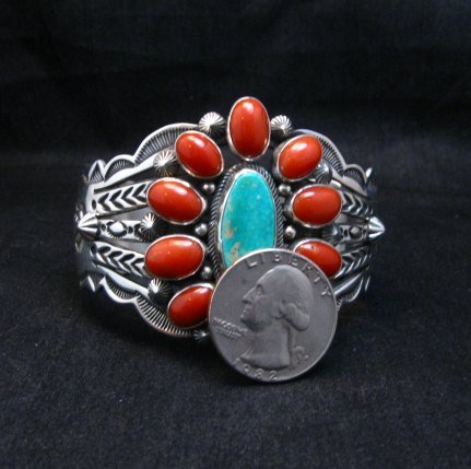 Image 7 of Aaron Toadlena Navajo Turquoise Coral Cluster Bracelet Native American