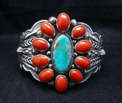Aaron Toadlena Navajo Turquoise Coral Cluster Bracelet Native American
