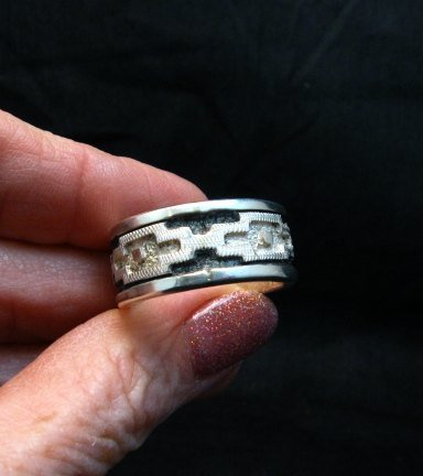 Image 4 of Dan Jackson Navajo Native American Rug Design Silver Ring sz13-1/2