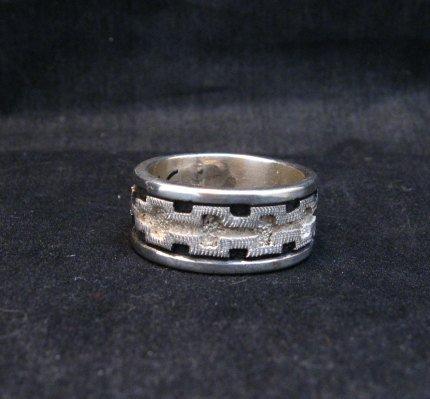 Image 2 of Dan Jackson Navajo Native American Rug Design Silver Ring sz13-1/2