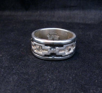 Image 3 of Dan Jackson Navajo Native American Rug Design Silver Ring sz13-1/2