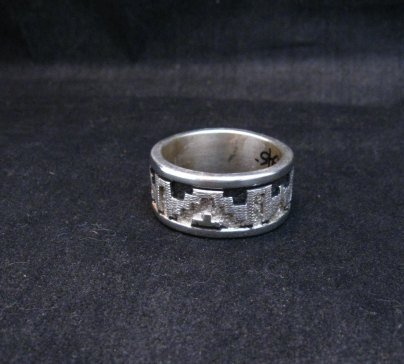 Image 1 of Navajo Native American Rug Design Silver Ring, Dan Jackson, sz12-3/4