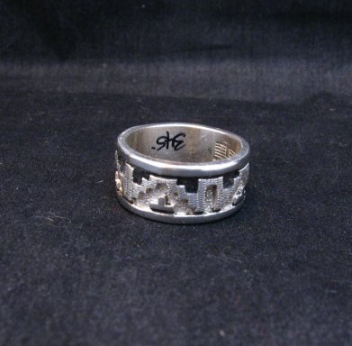 Image 2 of Navajo Native American Rug Design Silver Ring, Dan Jackson, sz12-3/4