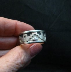 Navajo Native American Rug Design Silver Ring, Dan Jackson, sz12-3/4