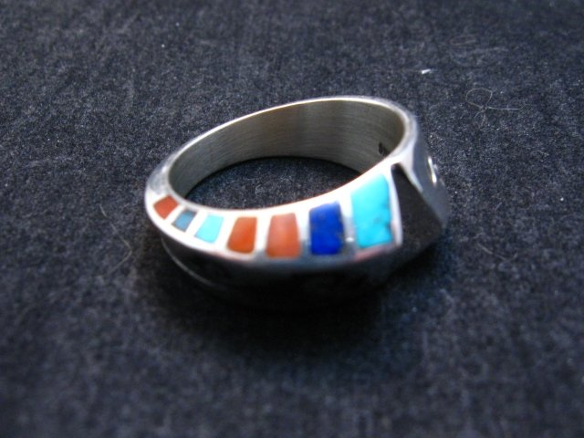 Image 0 of Lonnie Lonn Parker Navajo American Indian Multi Inlay Ring sz8-3/4