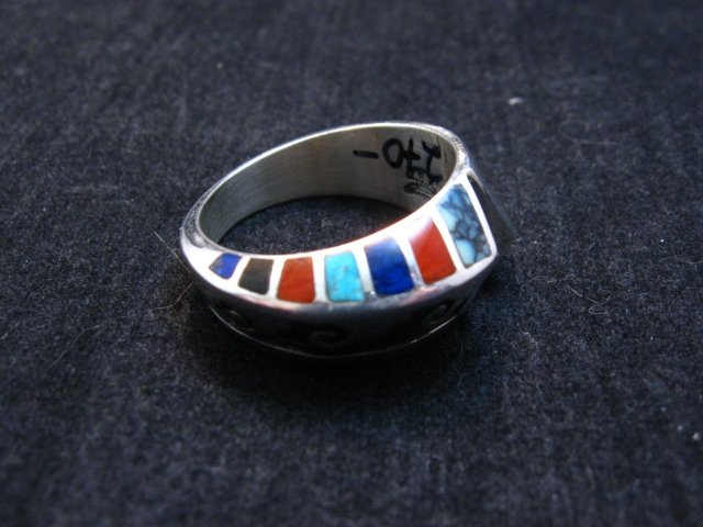 Image 2 of Lonnie Lonn Parker Navajo American Indian Multi Inlay Ring sz8-3/4