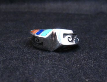 Image 4 of Lonnie Lonn Parker Navajo American Indian Multi Inlay Ring sz8-3/4