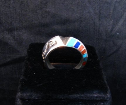 Image 5 of Lonnie Lonn Parker Navajo American Indian Multi Inlay Ring sz8-3/4