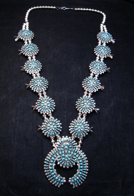 Image 0 of Zuni Turquoise Needlepoint Squash Blossom Necklace, Merlinda & Delbert Chavez