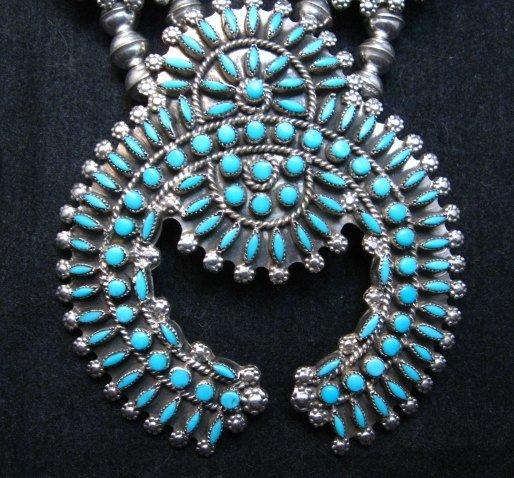 Image 2 of Zuni Turquoise Needlepoint Squash Blossom Necklace, Merlinda & Delbert Chavez