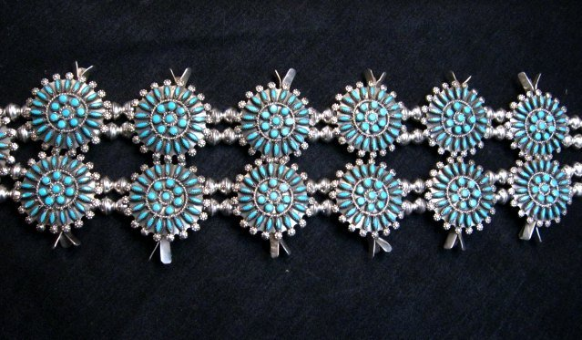 Image 3 of Zuni Turquoise Needlepoint Squash Blossom Necklace, Merlinda & Delbert Chavez