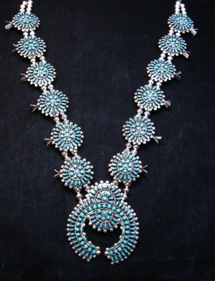 Image 7 of Zuni Turquoise Needlepoint Squash Blossom Necklace, Merlinda & Delbert Chavez