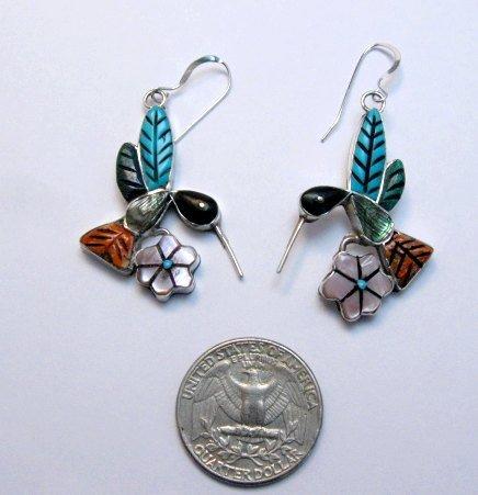 Image 0 of Whimsical Zuni Multigem Hummingbird Earrings ~ Valerie Comosona