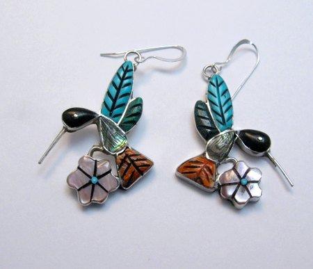 Image 1 of Whimsical Zuni Multigem Hummingbird Earrings ~ Valerie Comosona