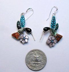 Whimsical Zuni Multigem Hummingbird Earrings ~ Valerie Comosona