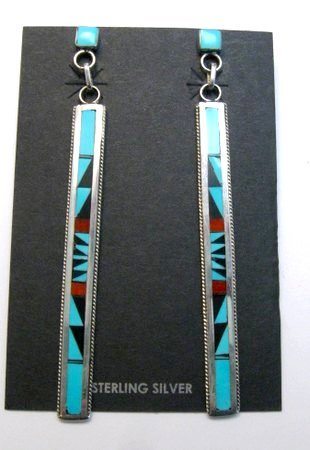 Image 0 of Extra Long Native American Zuni Multi Inlay Silver Earrings, Weahkee