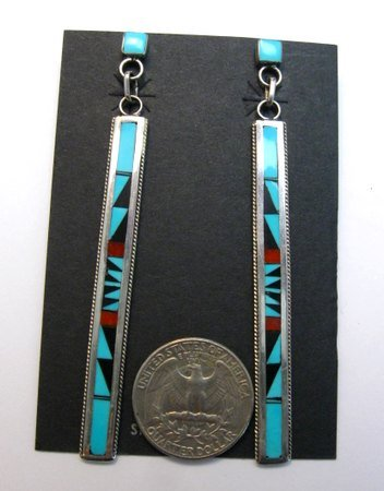 Image 1 of Extra Long Native American Zuni Multi Inlay Silver Earrings, Weahkee