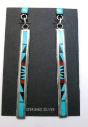 Extra Long Native American Zuni Multi Inlay Silver Earrings, Weahkee