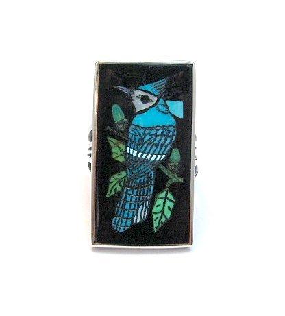 Image 0 of Harlan Coonsis, Zuni, Inlaid Blue Jay Ring sz8
