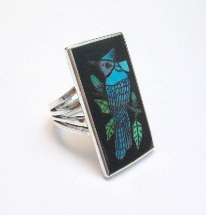 Image 3 of Harlan Coonsis, Zuni, Inlaid Blue Jay Ring sz8