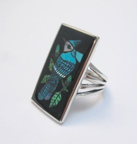 Image 2 of Harlan Coonsis, Zuni, Inlaid Blue Jay Ring sz8