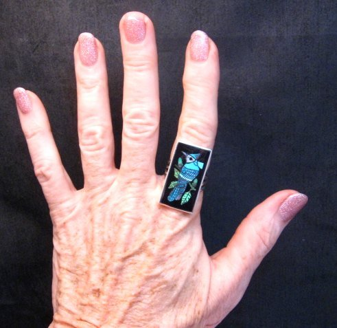 Image 1 of Harlan Coonsis, Zuni, Inlaid Blue Jay Ring sz8