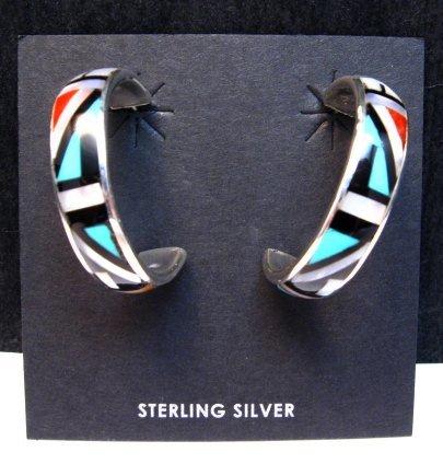 Image 0 of Native American Zuni Multi Inlay Hoop Earrings, Roberta Boone
