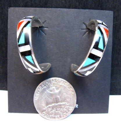 Image 2 of Native American Zuni Multi Inlay Hoop Earrings, Roberta Boone