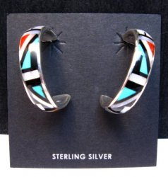 Native American Zuni Multi Inlay Hoop Earrings, Roberta Boone