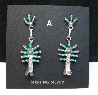 Image 0 of Zuni Turquoise Needlepoint Silver Squash Blossom Earrings