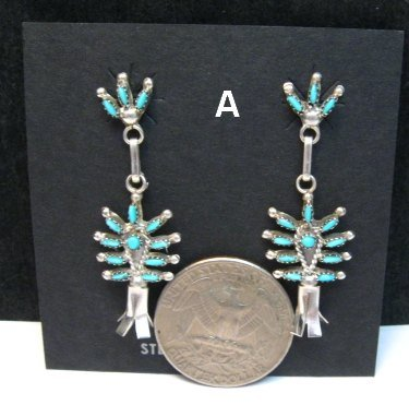 Image 1 of Zuni Turquoise Needlepoint Silver Squash Blossom Earrings