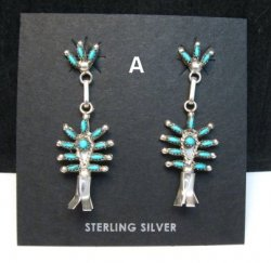 Zuni Turquoise Needlepoint Silver Squash Blossom Earrings