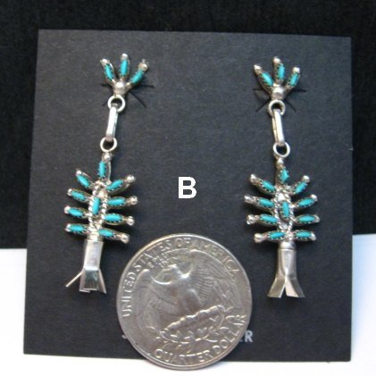 Image 1 of Zuni Sleeping Beauty Turquoise Needlepoint Squash Blossom Earrings