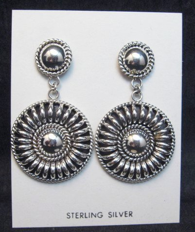 Image 0 of Native American Navajo Thomas Tom Charley Silver Concho Dangle Earrings
