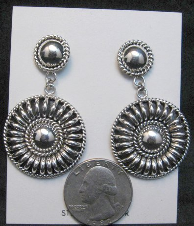 Image 2 of Native American Navajo Thomas Tom Charley Silver Concho Dangle Earrings