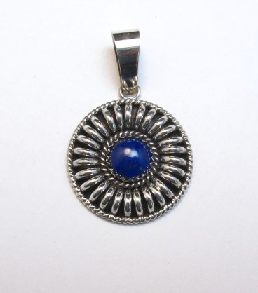 Image 1 of Native American Navajo Thomas Charley Lapis Silver Concho Pendant