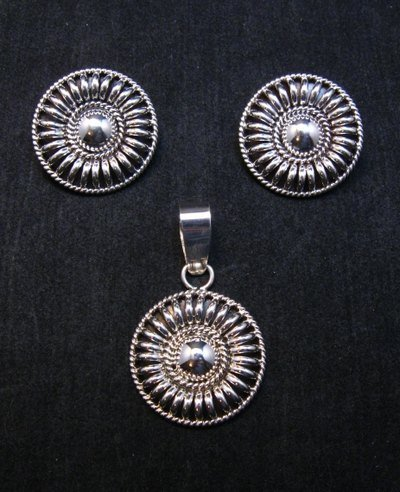 Image 0 of Navajo Thomas & Colton Charley Sterling Silver Concho Earrings & Pendant