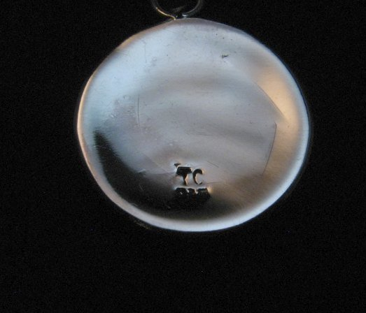 Image 4 of Navajo Thomas & Colton Charley Sterling Silver Concho Earrings & Pendant