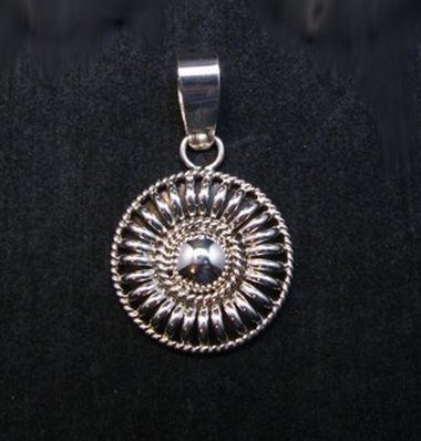 Image 0 of Navajo Thomas & Colton Charley Sterling Silver Concho Pendant