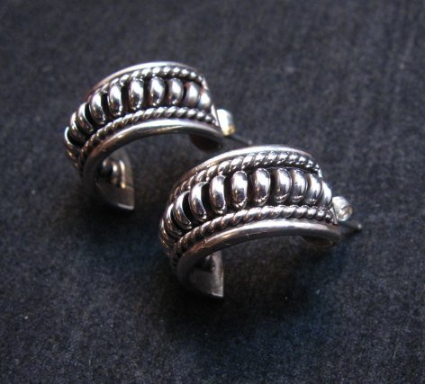 Image 1 of Native American Navajo Thomas Tom Charley Sterling Silver Hoop Earrings