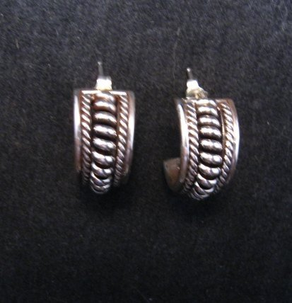 Image 2 of Native American Navajo Thomas Tom Charley Sterling Silver Hoop Earrings