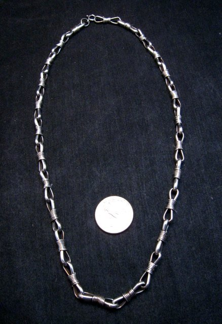 Image 1 of 21-inch Sterling Silver Link Chain Necklace, Navajo Thomas & Colton Charley