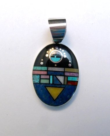 Image 0 of Oval Navajo Multistone Inlay Pendant, Jim Harrison