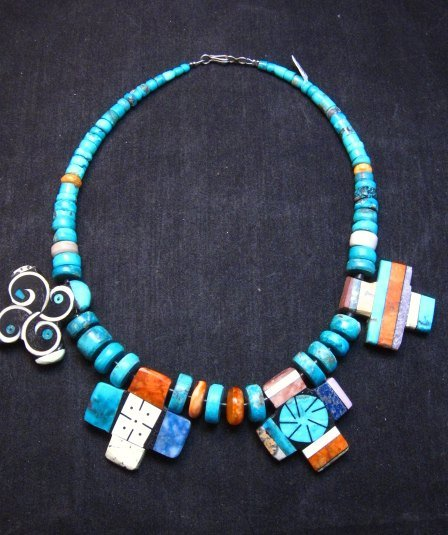 Image 9 of One of a kind Santo Domingo Mosaic Inlay Turquoise Choker Necklace, Mary Tafoya