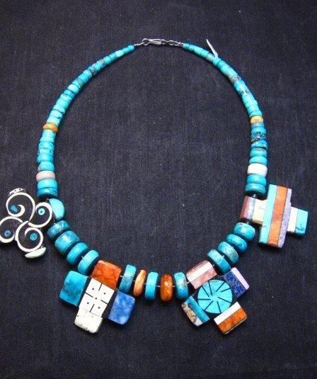 Image 8 of One of a kind Santo Domingo Mosaic Inlay Turquoise Choker Necklace, Mary Tafoya