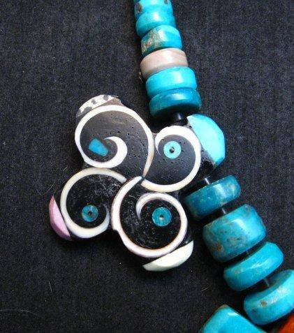 Image 6 of One of a kind Santo Domingo Mosaic Inlay Turquoise Choker Necklace, Mary Tafoya