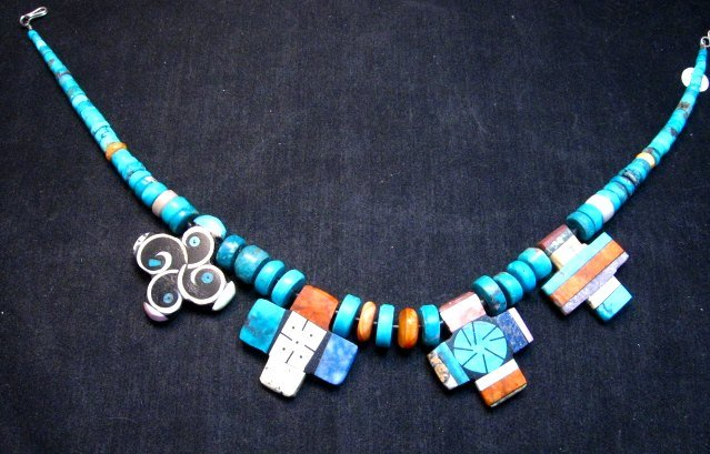 Image 4 of One of a kind Santo Domingo Mosaic Inlay Turquoise Choker Necklace, Mary Tafoya