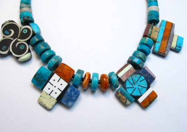 Image 1 of One of a kind Santo Domingo Mosaic Inlay Turquoise Choker Necklace, Mary Tafoya