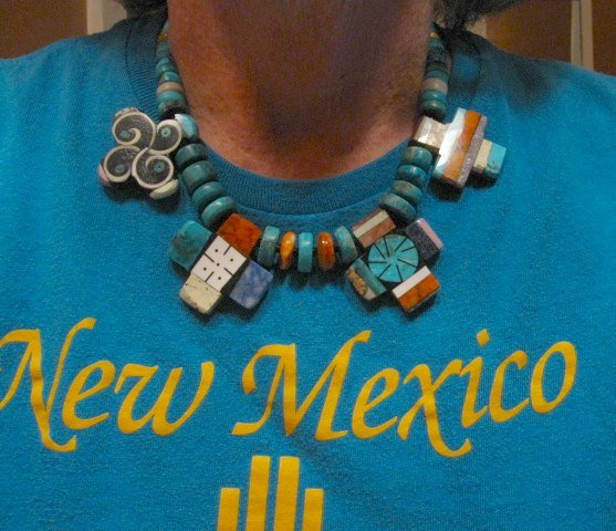 Image 1 of One of a kind Santo Domingo Mosaic Inlay Turquoise Choker Necklace, Mary Tafoya