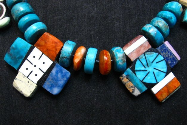 Image 3 of One of a kind Santo Domingo Mosaic Inlay Turquoise Choker Necklace, Mary Tafoya